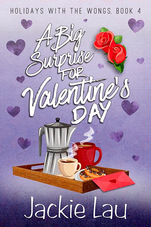 A Big Surprise for Valentine's Day cover. Purple background. Illustrations of coffee, donuts, and flowers.