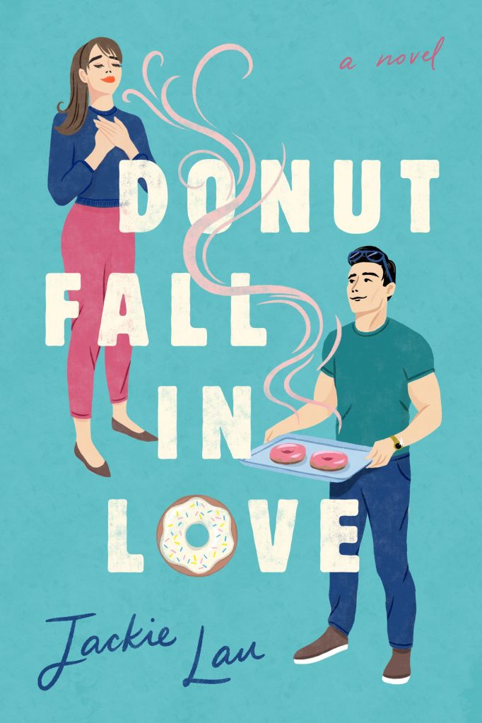 Illustrated cover of Donut Fall in Love: blue background. Two people (man and woman). Man is carrying tray with donuts.