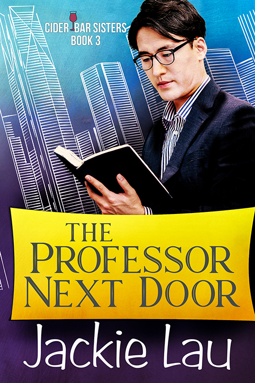 Cover of The Professor Next Door. Has photo of East Asian man with glasses reading.